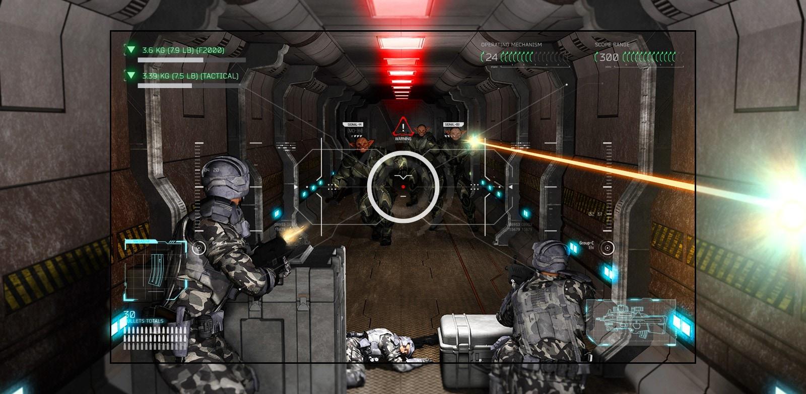 На телевизоре показана сцена из игры-«стрелялки», где игрока одолевают вооруженные пришельцы.