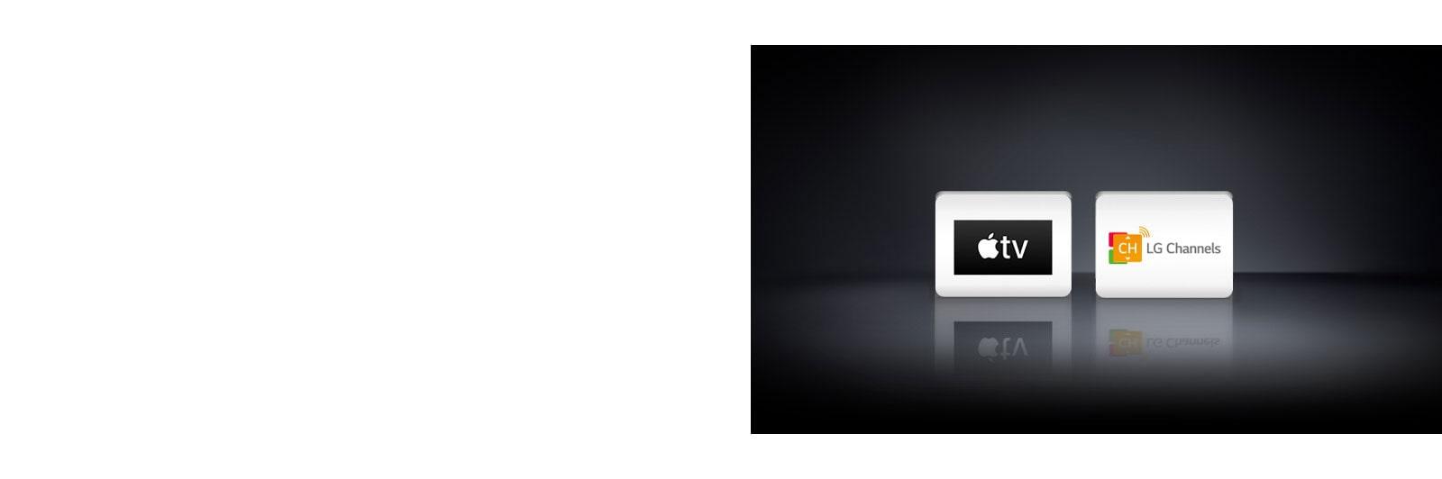 Четыре логотипа: Приложение Apple TV, Netflix и LG Channels