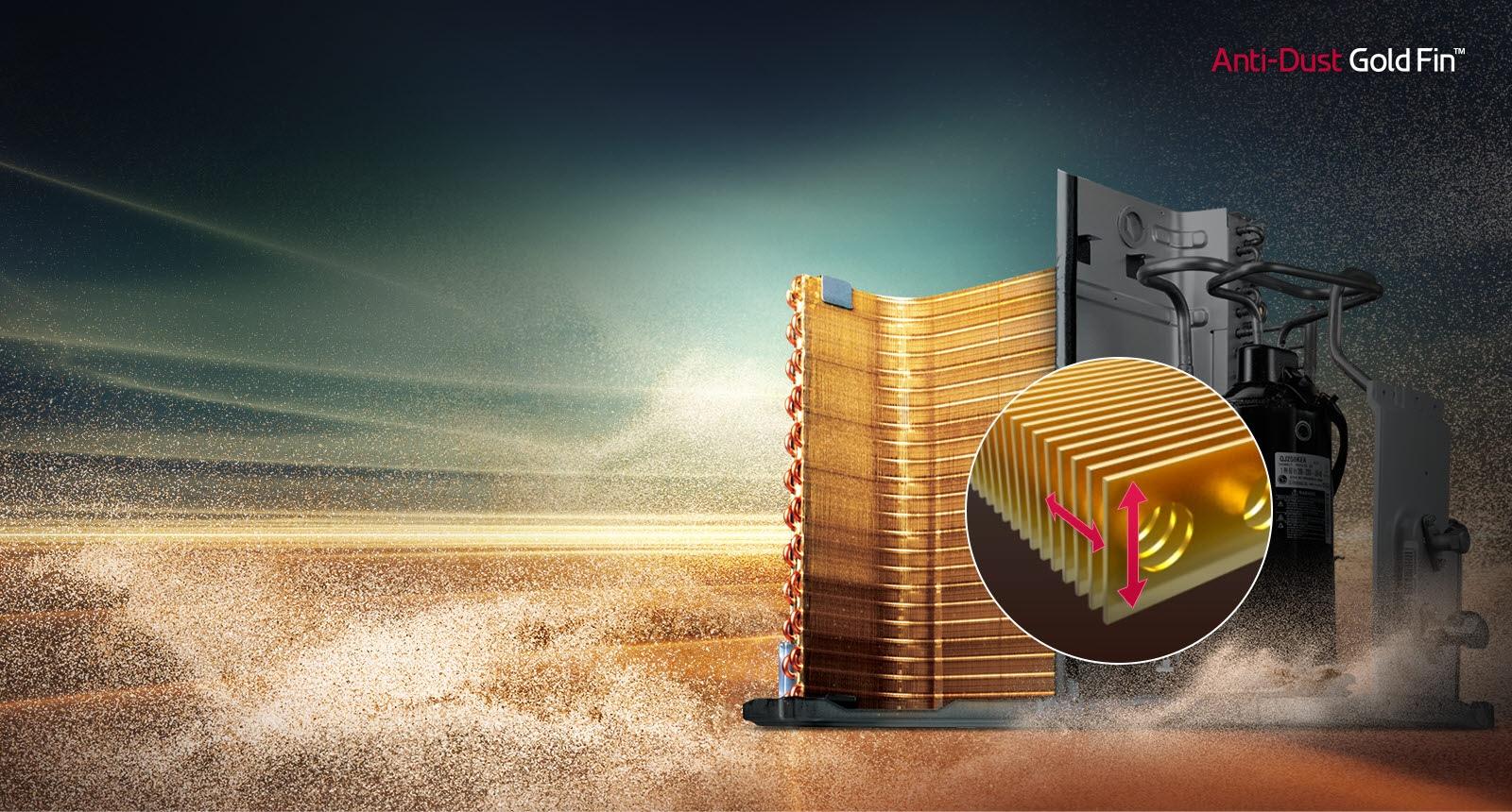 تظهر المكونات الآلية المطلية بالذهب في الخلفية مقابل منظر طبيعي صحراوي مغبَّر. توجد دائرة تُظهر منظرًا مكبرًا للريشة الذهبية المضادة للغبار. هناك سهمان، أحدهما رأسي والآخر عمودي على الريشة، يوضحان كيفية تحركها.