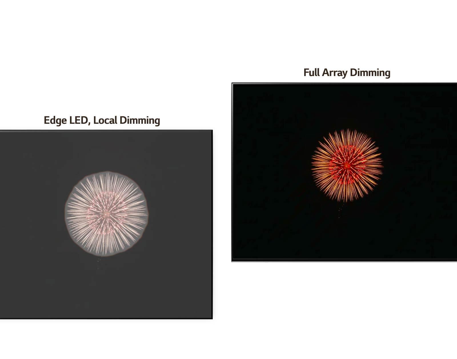 مقارنة بين نظام Edge LED والتعتيم الموضعي على اليسار مع تأثير الهالة وتعتيم المصفوفة الكاملة على اليمين مع درجات سوداء أكثر قتامة والتقليل من تأثير الهالة (تشغيل الفيديو).