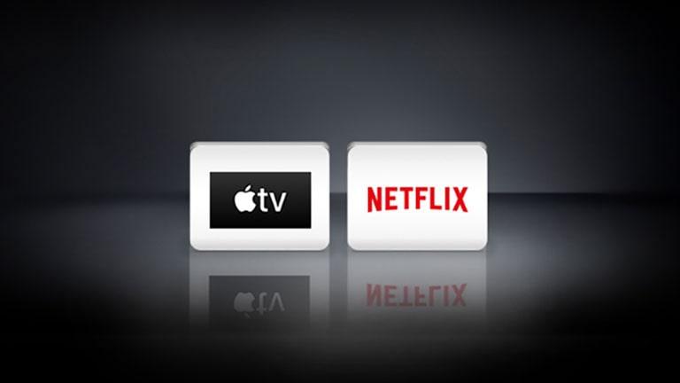 يظهر بالخلفية السوداء شعارات نتفليكس وApple TV في ترتيب أفقي.