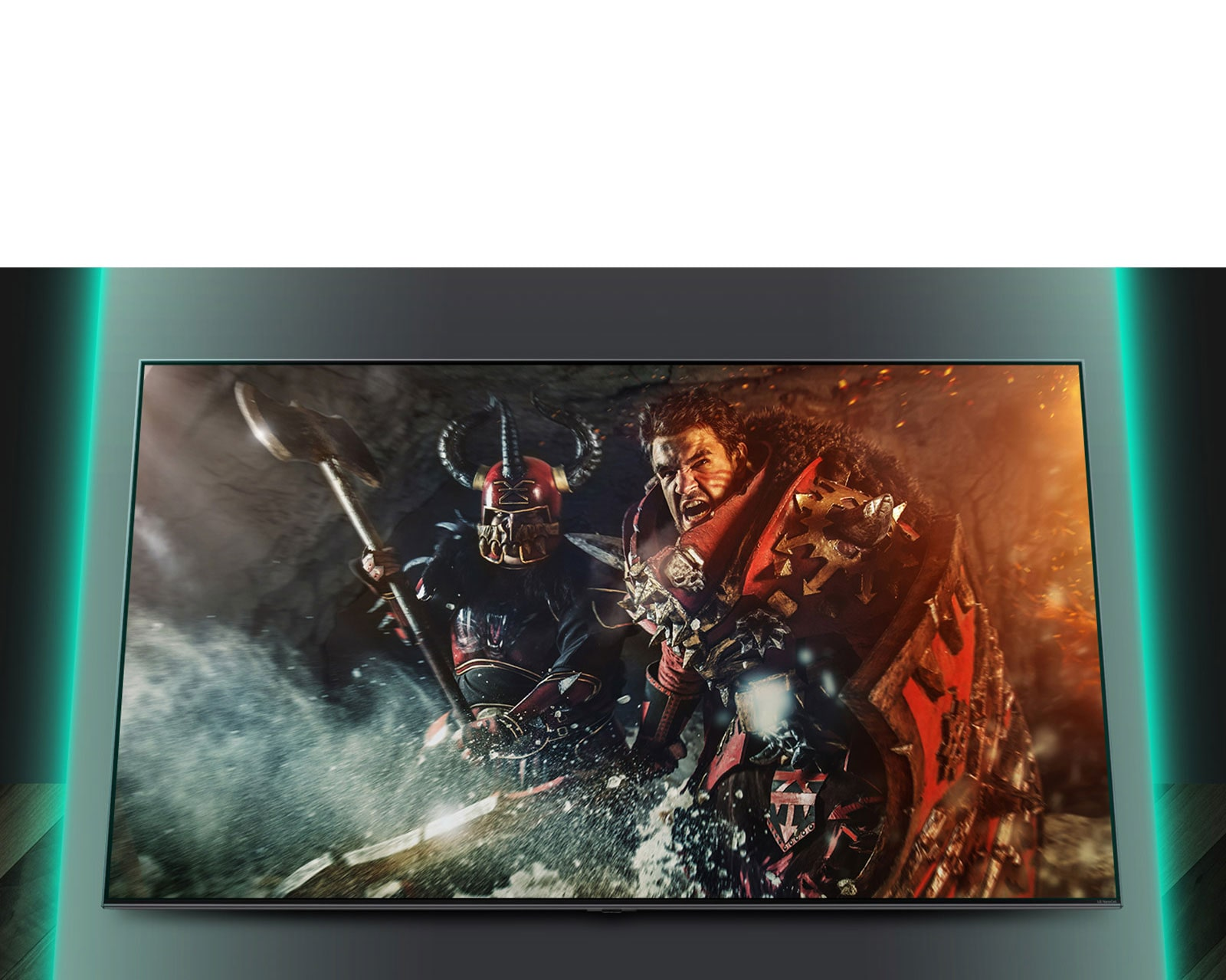 شاشة تلفزيون يظهر عليها مشهد من إحدى الألعاب القتالية.