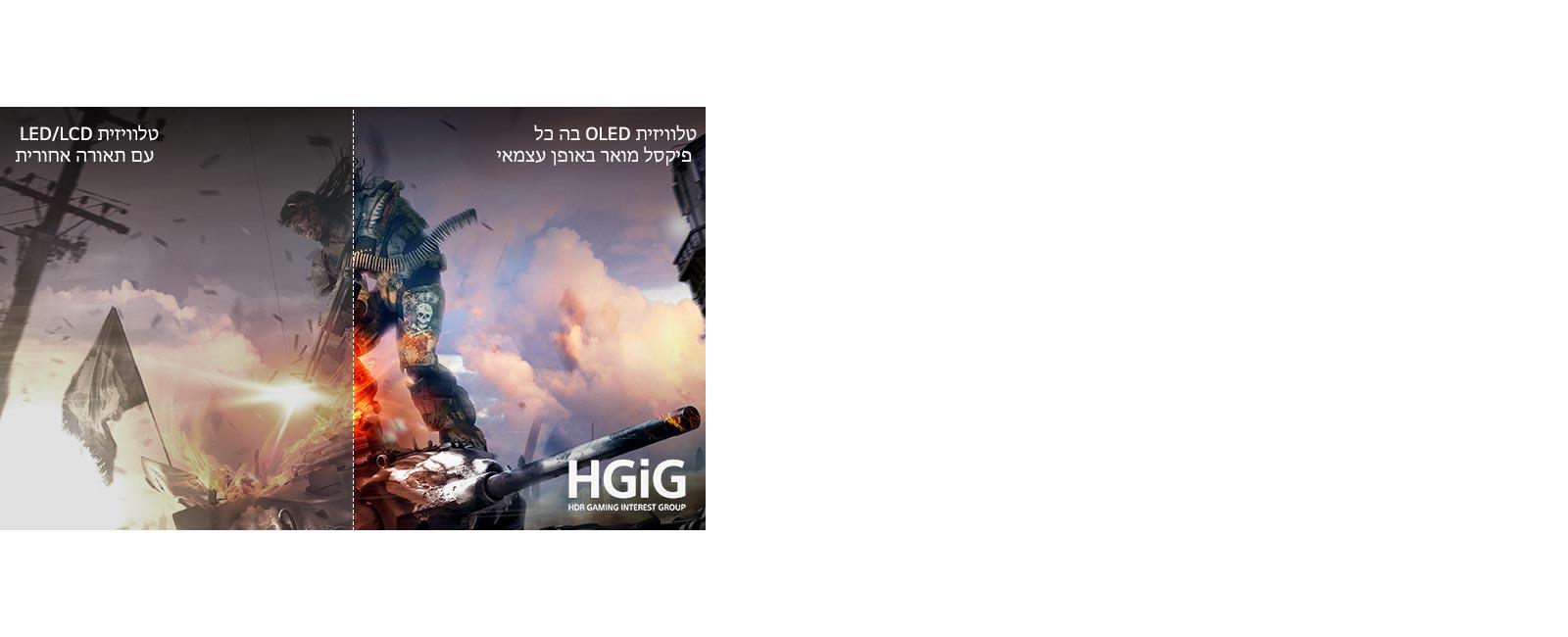 مشهد من لعبة، نصفه معروض على تلفزيون LCD / LED TV يعرض الصورة بجودة رديئة والنصف الآخر معروض على تلفزيون LG OLED TV يعرض صورة تتسم بالنضارة والحيوية