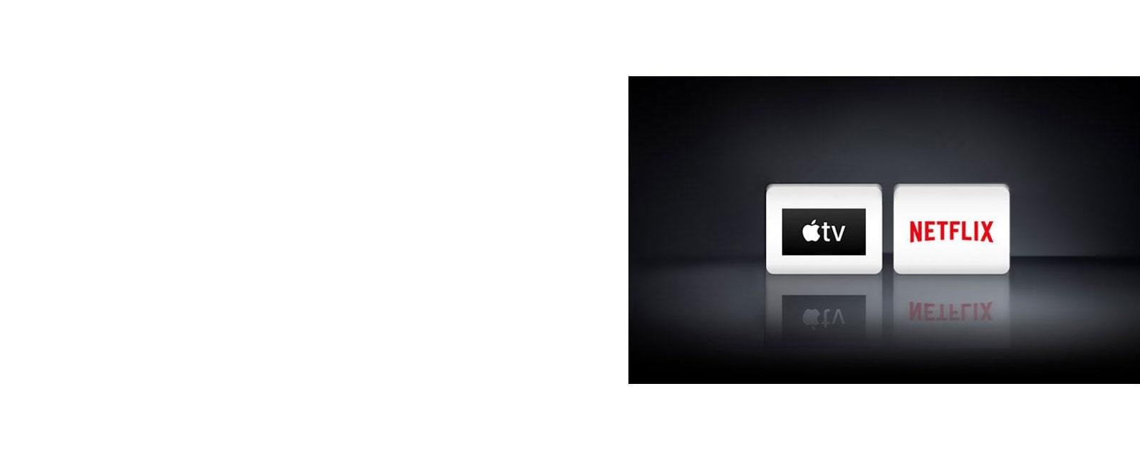شعارات التطبيقات من اليسار إلى اليمين: تطبيق Apple TV، نتفليكس