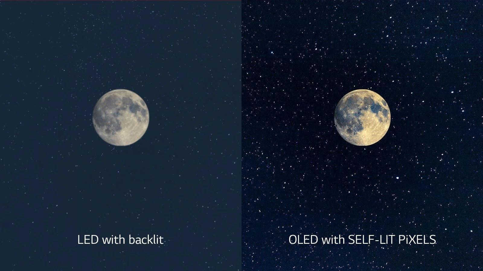 مشهد يوضح القمر، على تلفزيون LED بالجانب الأيسر مع لون أسود غير واضح وتلفزيون OLED على اليمين بلون أسود مثالي (تشغيل الفيديو)