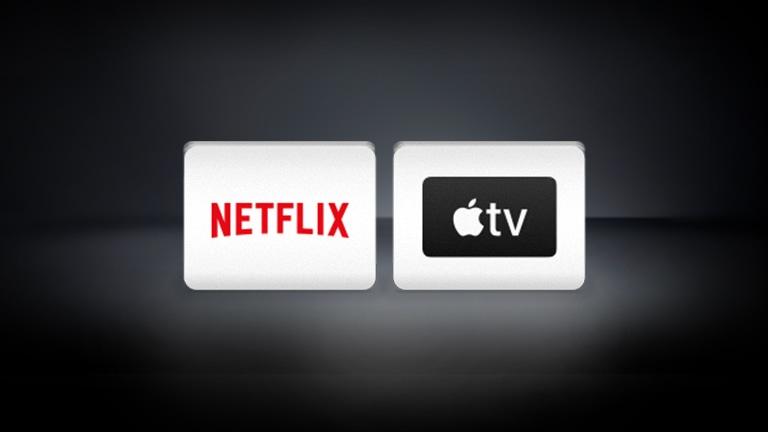 شعارات قنوات إل جي ونتفليكس وديزني+ وApple TV مرتبة أفقيًا في الخلفية السوداء.