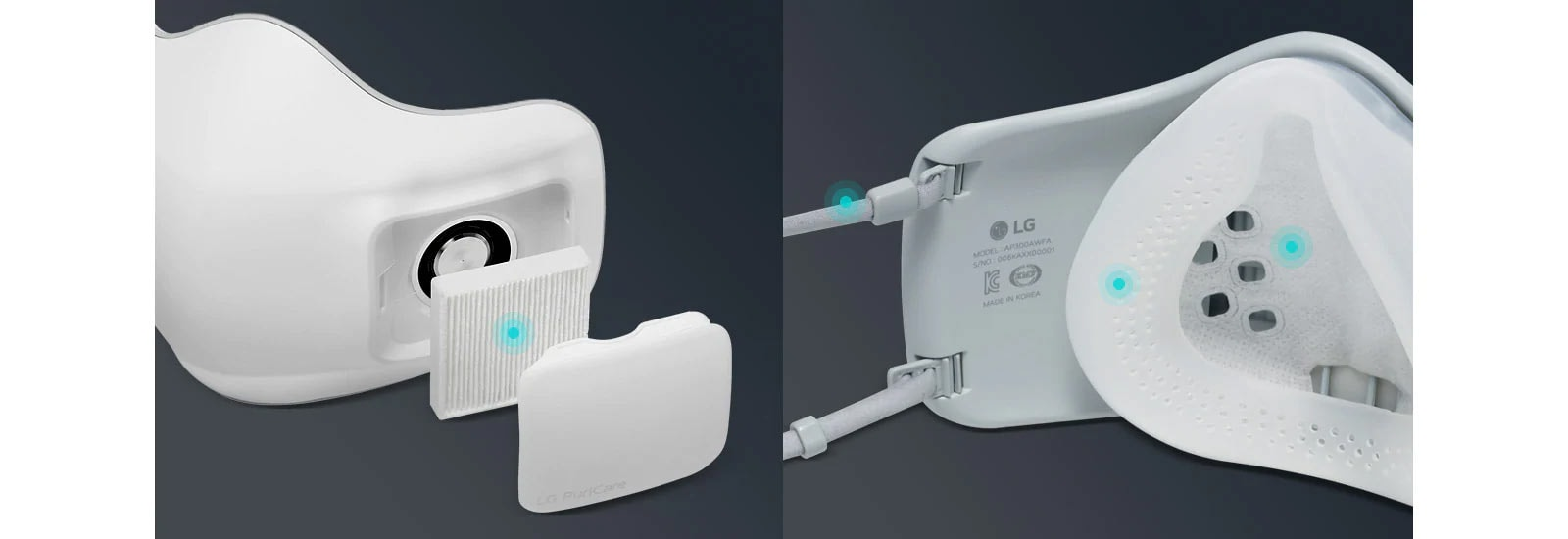 The first image shows the exterior of the face mask with the filter and cap exposed. A blue dot on the filter indicates this is disposable and can be replaced. The second image shows the interior of the mask and blue dots on the face pad and mask ear straps indicate they are washable.