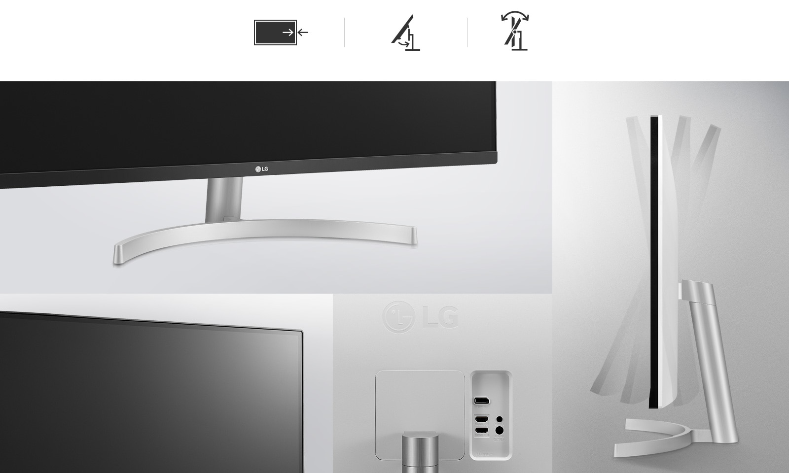 Tilt adjustment, One-Click stand, and 3-Side Virtually Borderless design