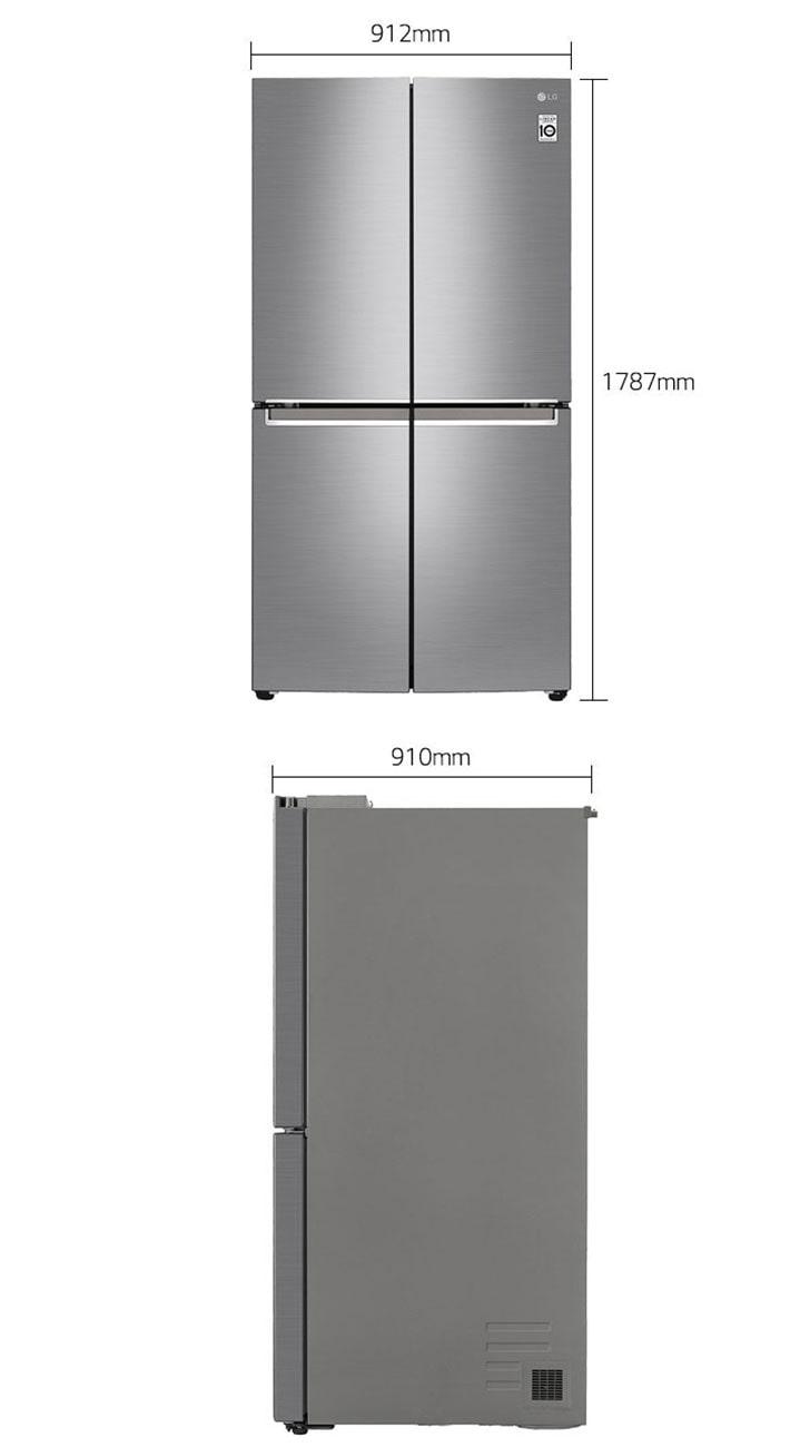 إل جي ثلاجة متعددة الأبواب، 26.7 قدم، كمبريسور إنفيرتر، فضي