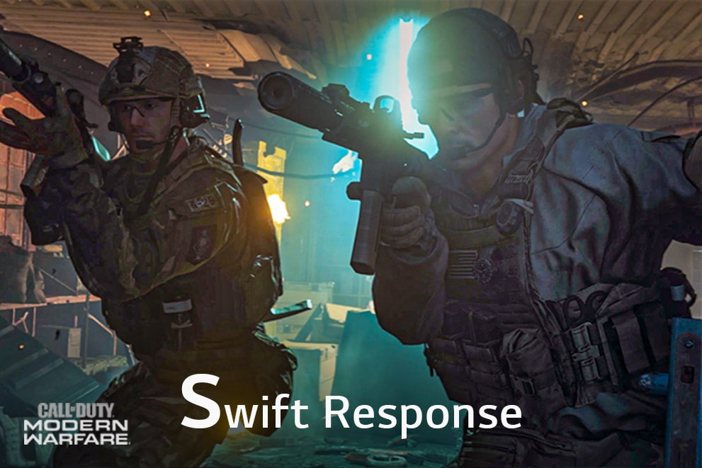 """A gaming scene of the Call of Duty, labeled """"Swift Response"""""""