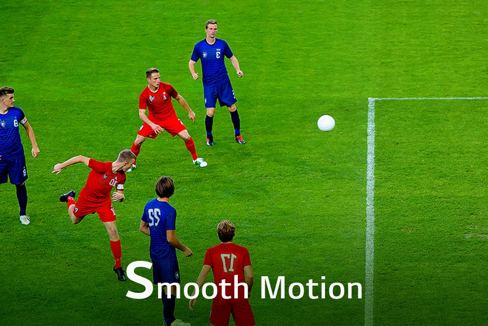 """A scene of six players playing soccer, labeled """"Smooth Motion"""""""