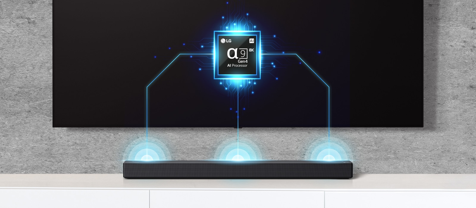 There is an alpha nine chip image on TV and there is a soundbar right below. There are also soundwave effect coming out from soundbar.