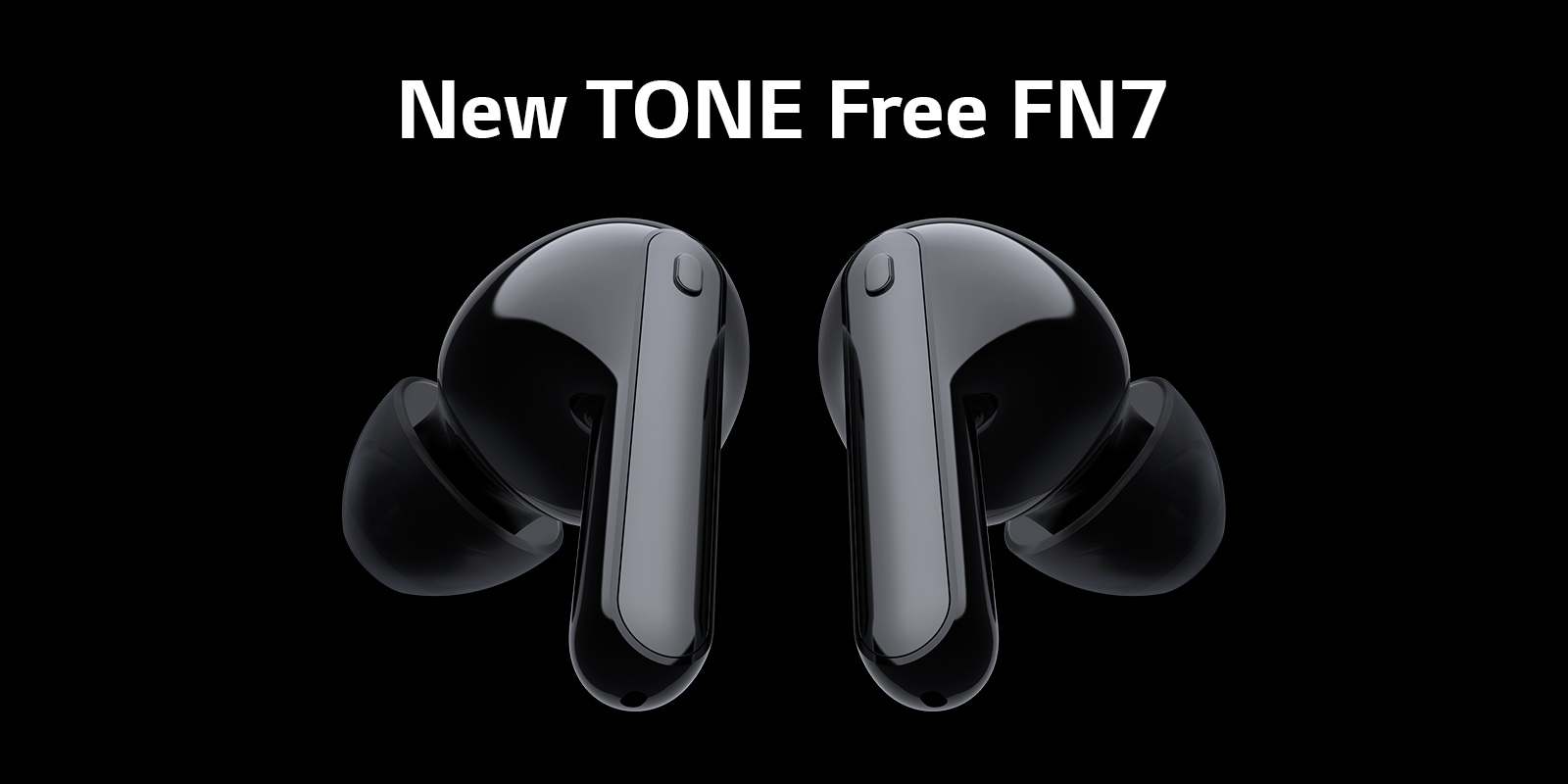 Two earbuds are floating in the black background.