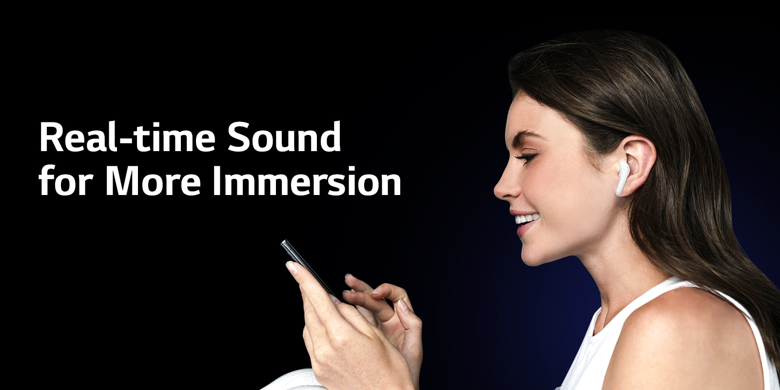A woman is using phone and at the same time listening through TONE Free.