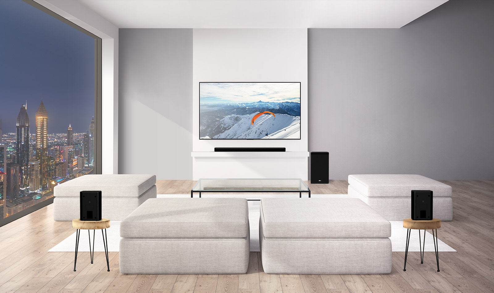 LG Soundbar with a sub-woofer and 2 rear upfiring speakers is in a living room. Graphics of soundwaves coming out from rear speakers to the ceiling and bounce back. (play the video)