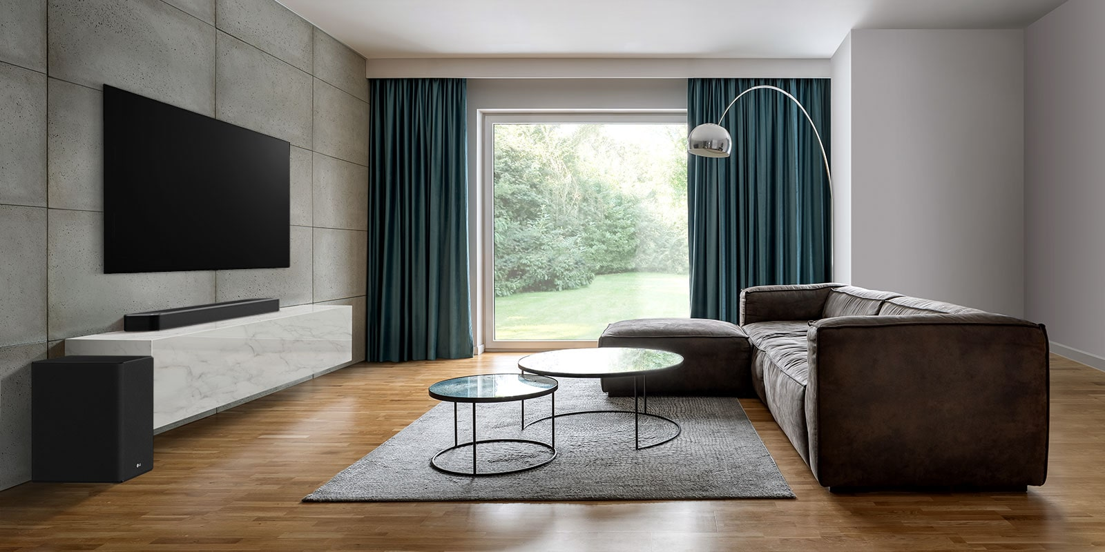 There is TV, a soundbar, and a subwoofer in a wide living room. A wave with grid is coming out from soundbar, measuring the entire space of living room.