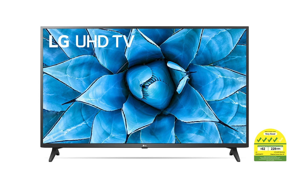LG UN7200 65'' UHD 4K TV, front view with infill image, 65UN7200PTF