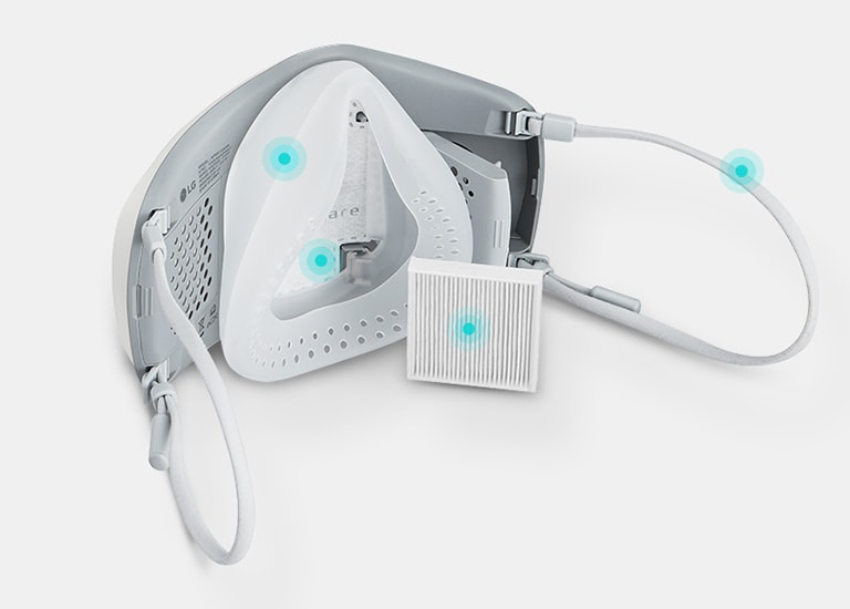 There are some replaceable parts of Wearable Air Purifier for consistently clean air such as filters, face guard, inner cover, and ear strappers.