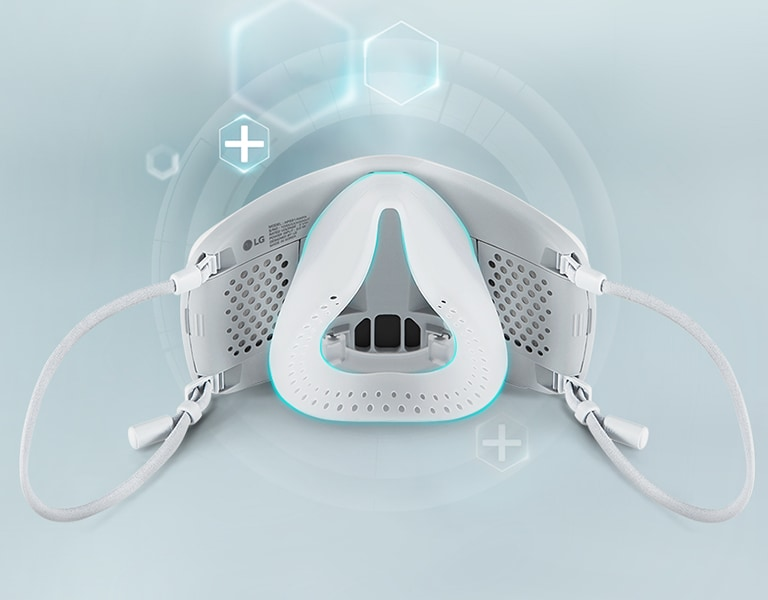 The interior of the PuriCare™ wearable air purifier is seen with a light blue line highlighting the inner cover, which is made with medical-grade silicone.