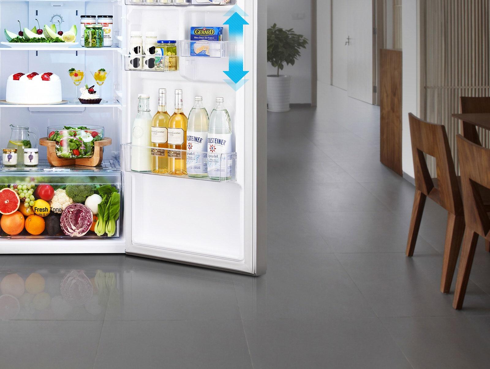 ชั้นวางบริเวณประตูของตู้เย็น