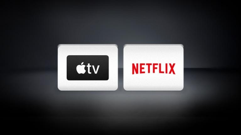 โลโก้ Netflix, โลโก้ Apple TV จัดเรียงตามแนวนอนบนพื้นหลังสีดำ