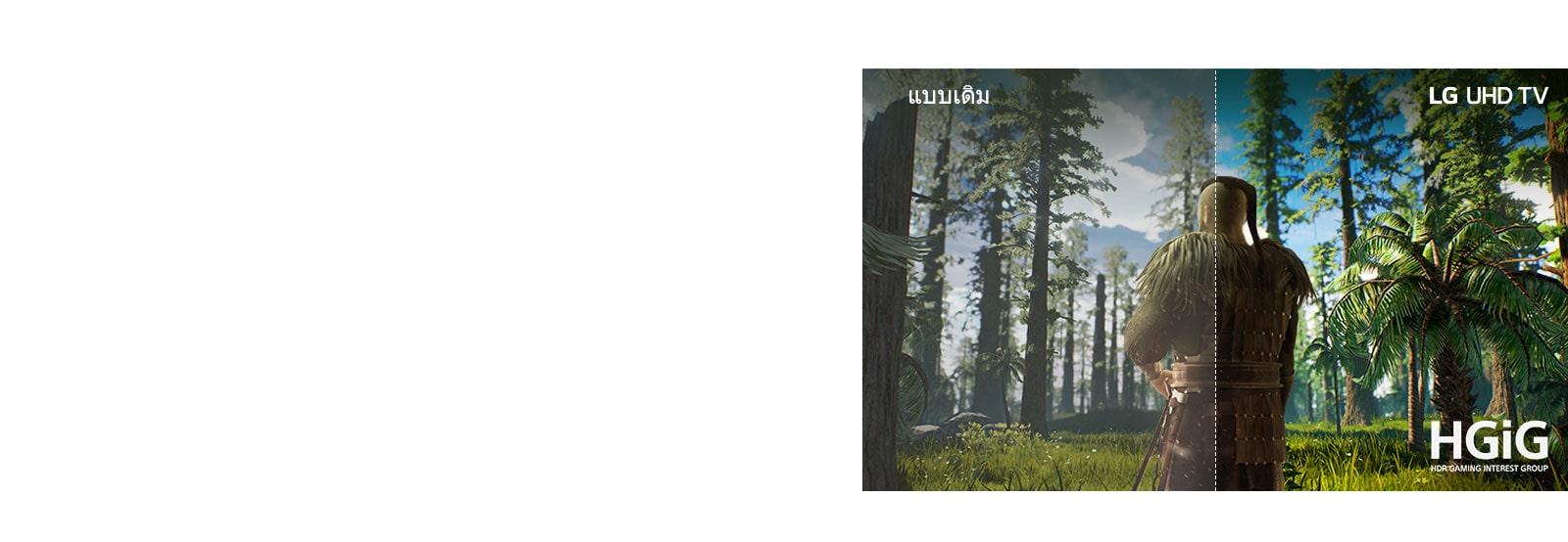 หน้าจอทีวีแสดงฉากเกมที่มีผู้ชายกำลังยืนอยู่ท่ามกลางป่า ครึ่งหนึ่งแสดงในอยู่บนหน้าจอแบบเดิมซึ่งมีคุณภาพรูปภาพต่ำ ครึ่งหนึ่งแสดงคุณภาพของรูปภาพทีวี LG UHD ที่คมชัดสีสดใส