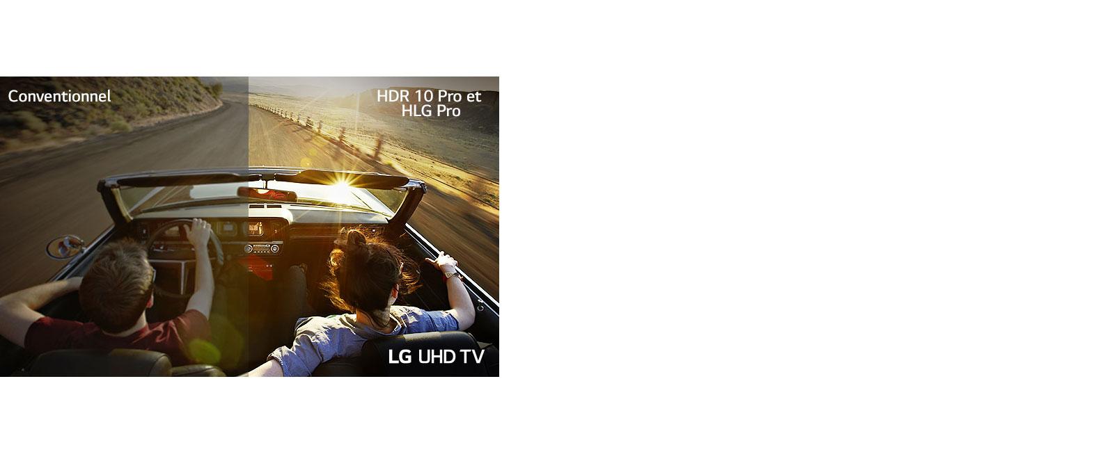 Un couple au volant d'un véhicule roulant sur une route. Une moitié de l'image est affichée sur un écran classique avec une mauvaise qualité d'image. L'autre moitié est affichée sur le téléviseur UHD LG avec une qualité d'image nette et vive.