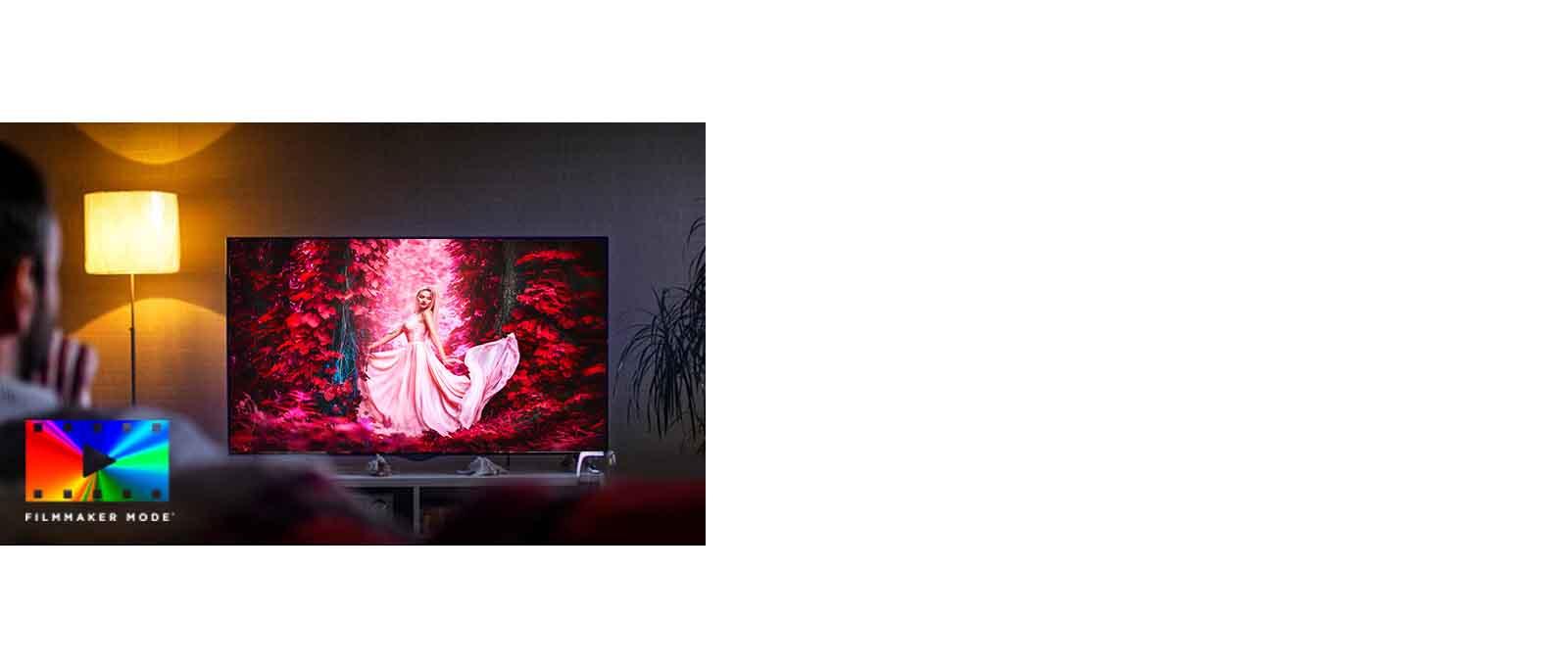 Oturma odasında, renkli bir film gösteren TV ekranının karşısında kanepede oturan adam