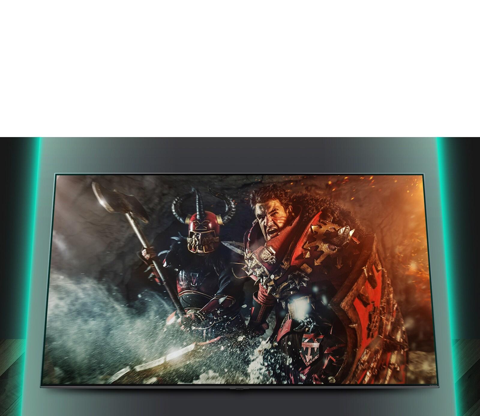 Savaş oyunu sahnesini gösteren TV ekranı.