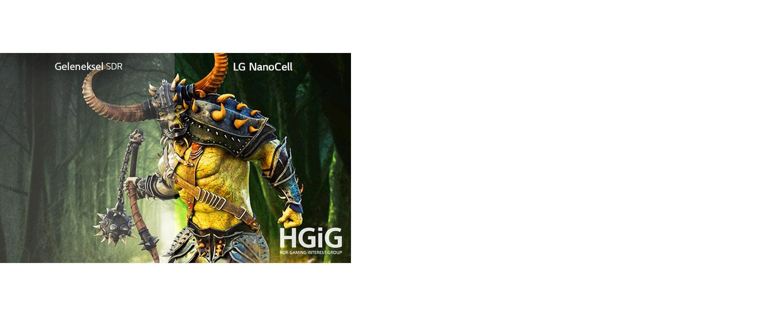 Bir yarısı geleneksel bir televizyonda, diğer yarısı HDR özellikli LG NanoCell TV'de gösterilen canavarlı oyun sahnesi
