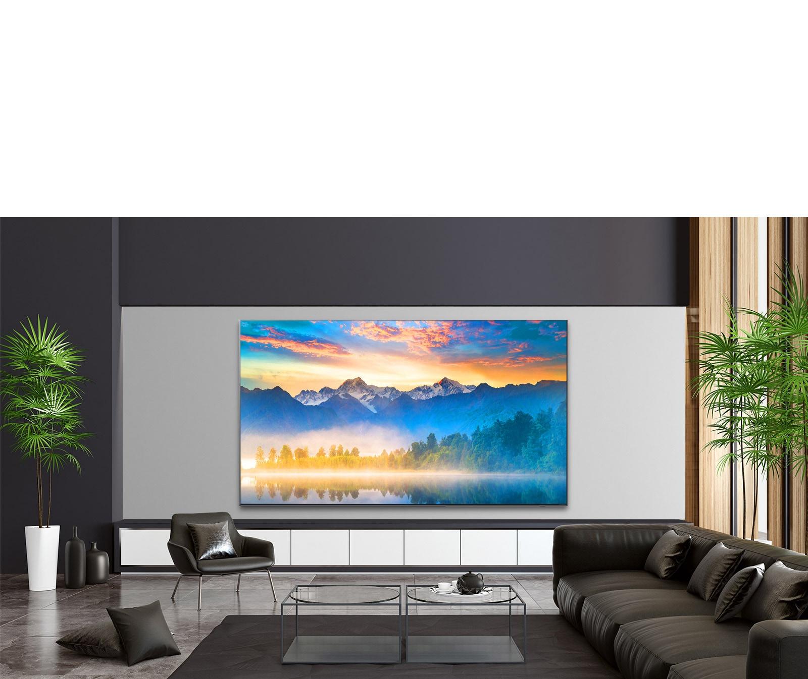 Doğanın göz hizasında bir görünümünü gösteren TV'nin bulunduğu lüks oturma odası
