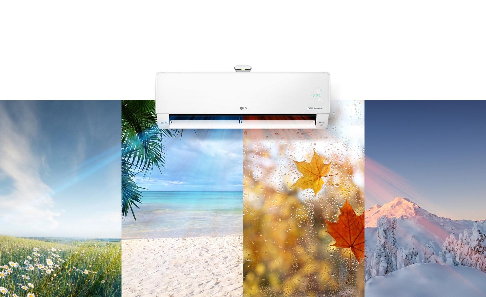 代表一年四季的四個圖片拼貼成宛如牆上的一幅畫,而正上方安裝的 LG 空調流出空氣,流經每個季節的圖片。