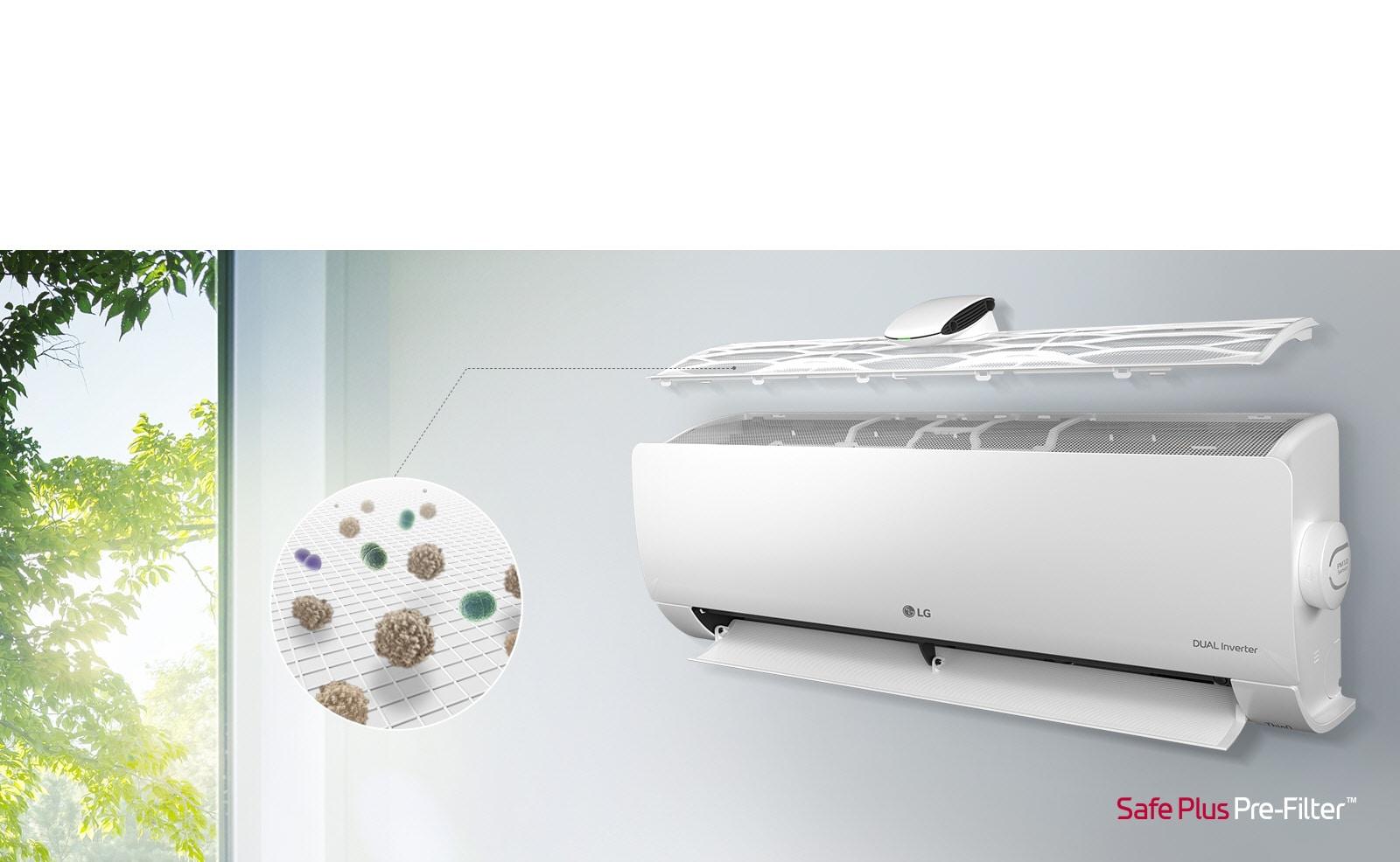 LG 空調安裝在牆上並從側視角可見。頂部面板漂浮上方,可見內部濾網。從預濾網伸出的一條線指向放大圓圈圖,顯示預濾網濾出的灰塵。右下角顯示 SafePlus 預濾網標誌。