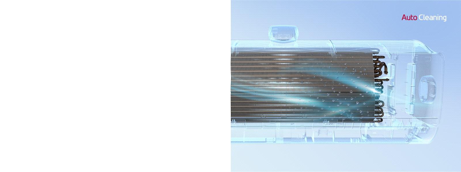 LG 空調的前視圖,其外殼纯透明,讓您可見機器內部工作原理。機器正在運轉,然後自動清潔功能的藍光亮起,並利用藍光清潔整台機器。右下角顯示 AutoCleaning 標誌。