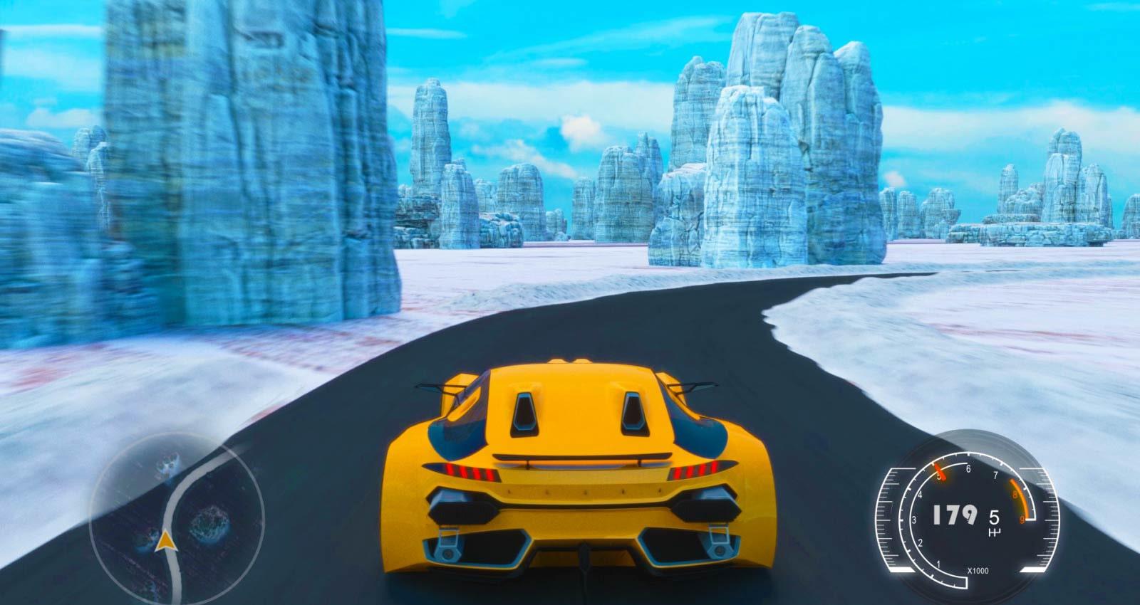 在電視螢幕上顯示賽車遊戲的場景(播放影片)。