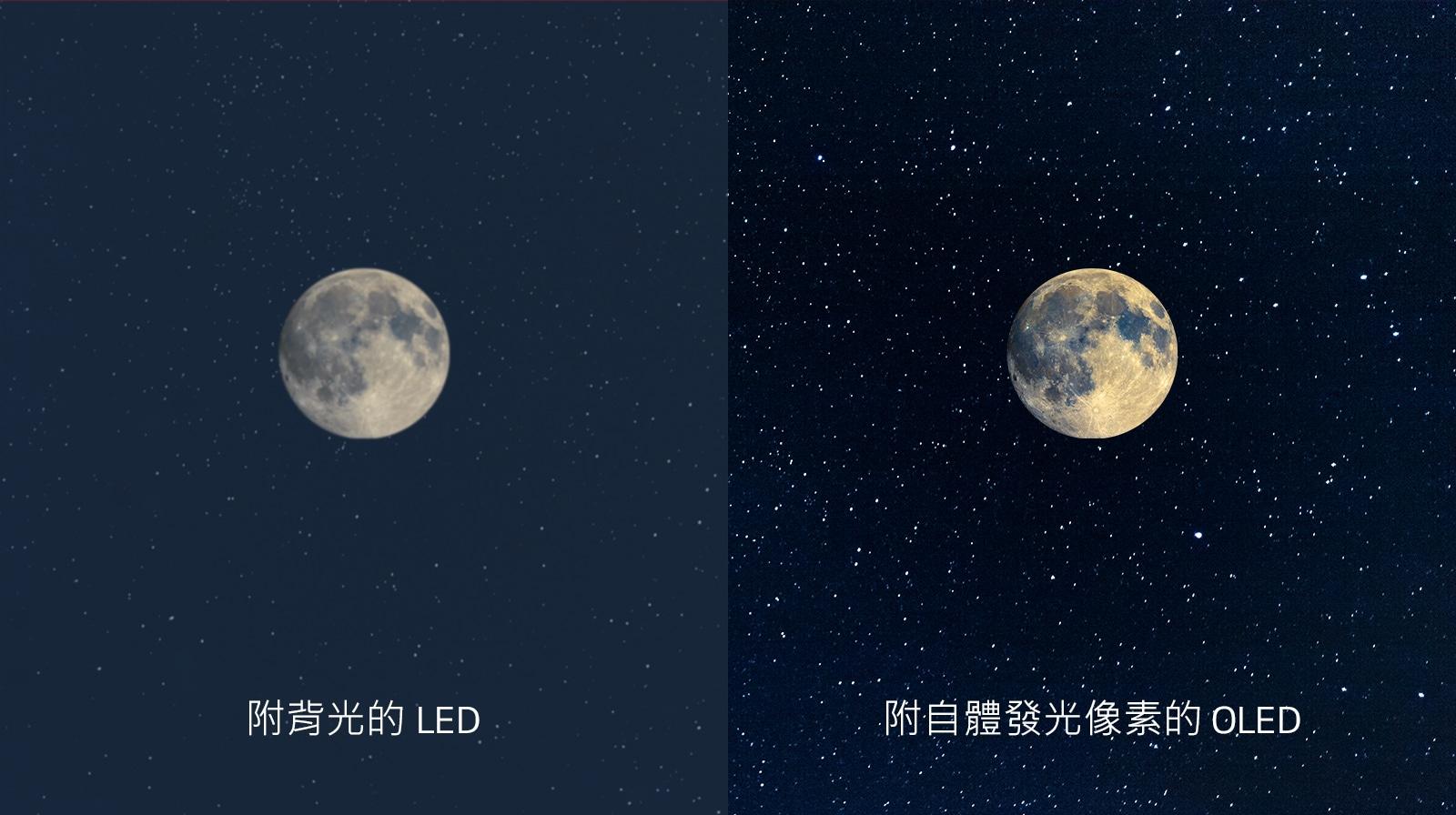 月亮的場景,左側的 LED 帶有不清晰的黑色,右側的 OLED 具有完美的黑色(播放影片)