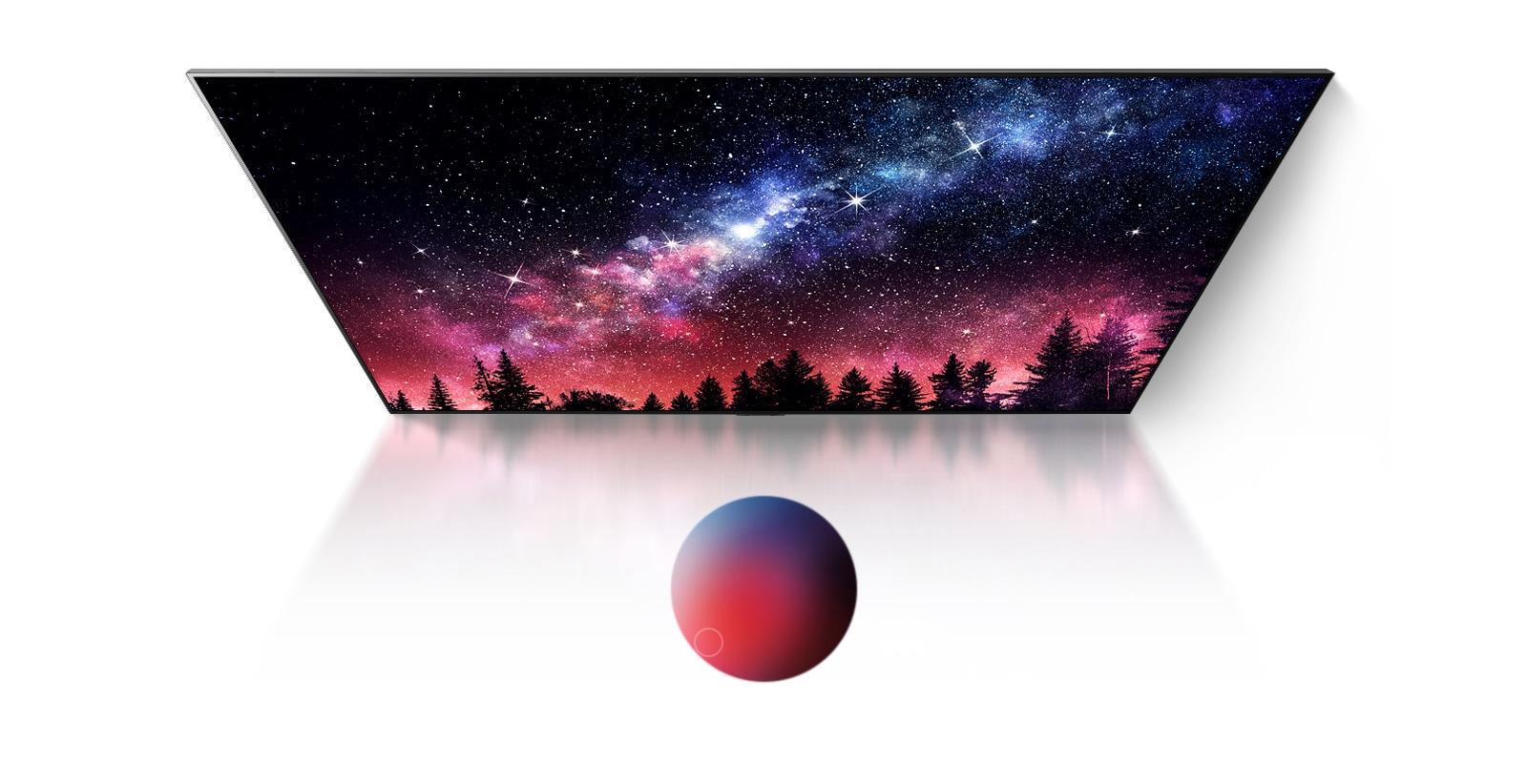 顯示銀河系、藍天和高品質的彩色塵爆的電視畫面(播放影片)