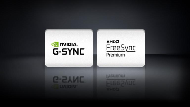 NVIDIA G-SYNC 標誌、AMD FreeSync 標誌在黑色背景中水平排列。