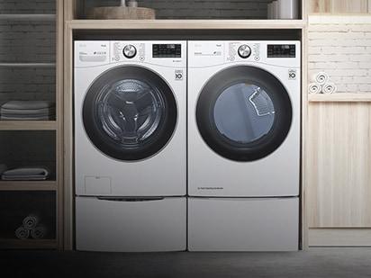 並排放置洗衣機和乾衣機