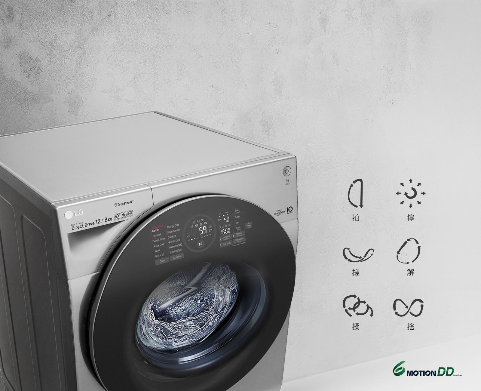 6 Motion DD模擬媽媽手洗動作<br>針對各種衣物提供最適合的洗衣行程選擇<br>1
