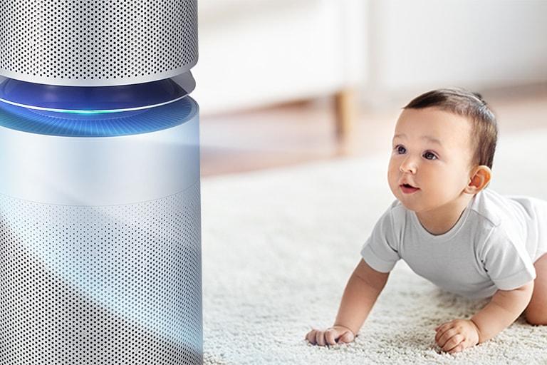 第一張圖片顯示嬰兒抬頭看著空氣清淨機,空氣清淨機正在客廳釋出空氣。第二張圖片顯示代表流入機器的空氣箭頭,左側是「優良」、「正常」、「不良」、「糟糕」等字樣,而在機器啟動時會顯示為「優良」。