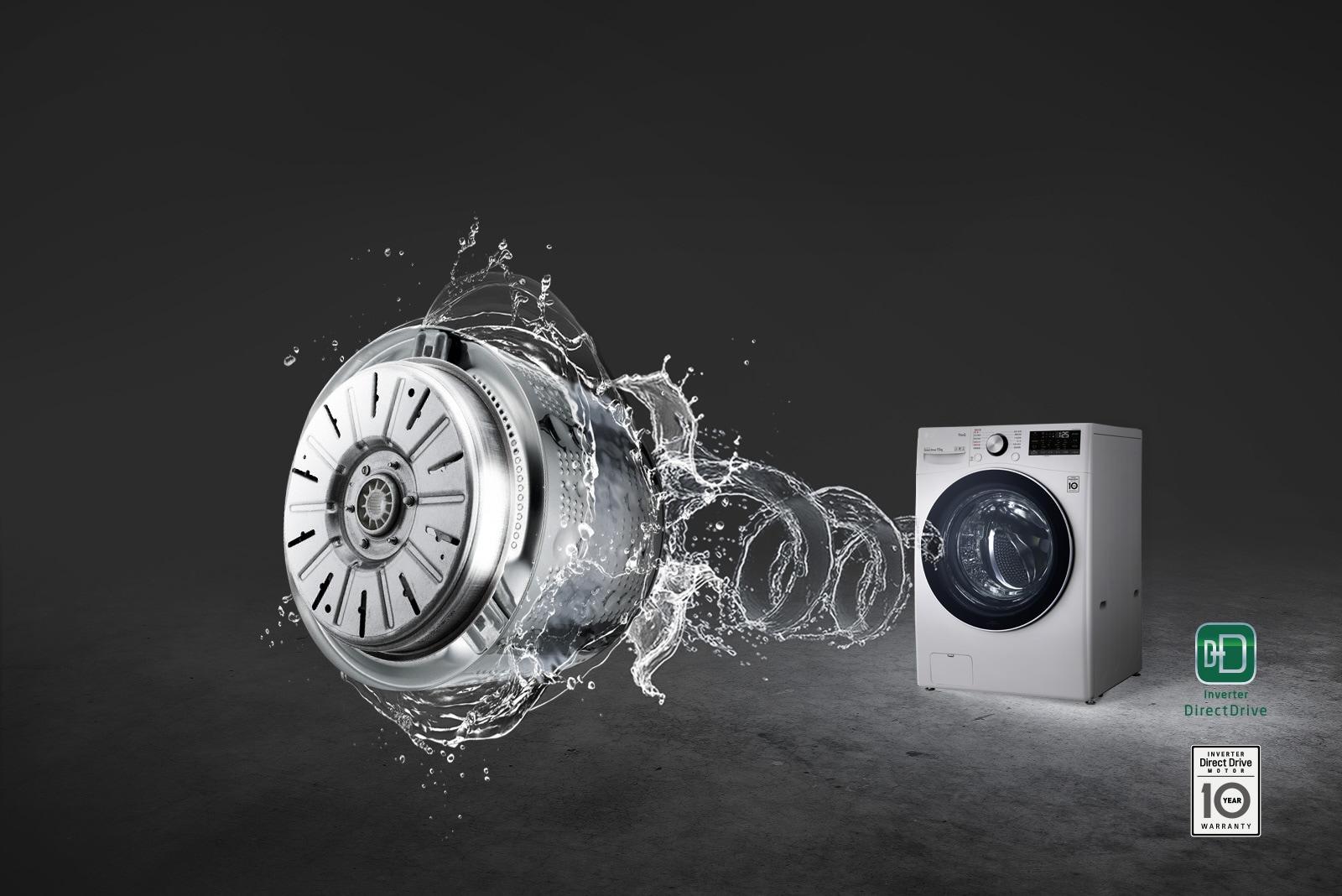 灰色背景前有一台滾筒洗衣機,水漩渦從前部湧出,形成了直驅變頻機械構造。