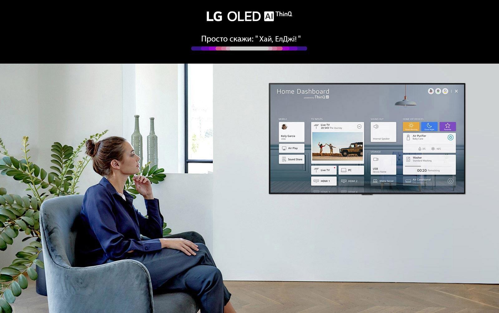 У вітальні жінка сидить у кріслі перед телевізором, на екрані якого показано панель Home Dashboard для керування домашньою екосистемою.