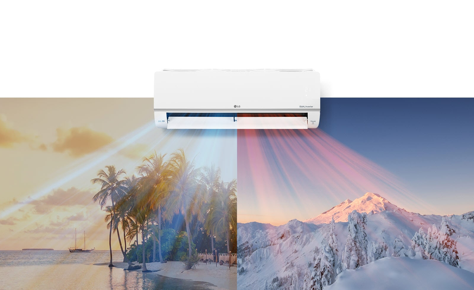 An LG air conditioner is hanging at the top center of the image. Beneath it are two images, one image shows a hot beach scene and the other shows a snowy mountain scene. Air blows out of the air conditioner with cool blue air on the beach scene and warm red air across the snowy scene.