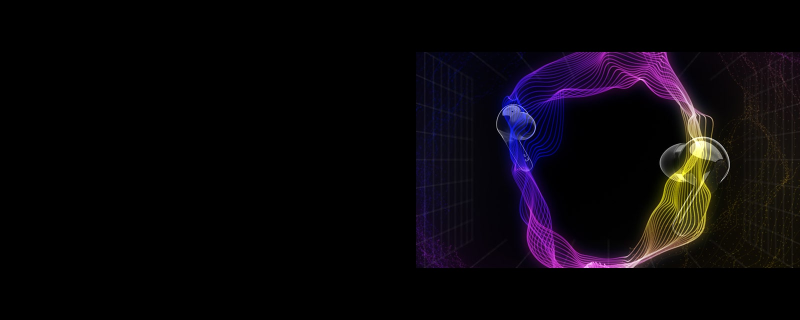 An image of two earbuds floating in a virtual space with colorful lighting surrounding the space
