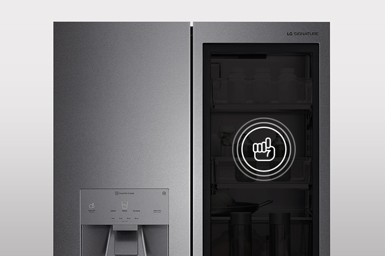 Finger icon is drawn on the instaview door of LG SIGNATURE Refrigerator.