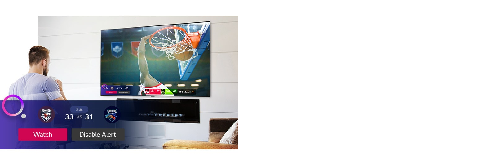 TV screen showing a scene from a basketball game with a Sports Alert