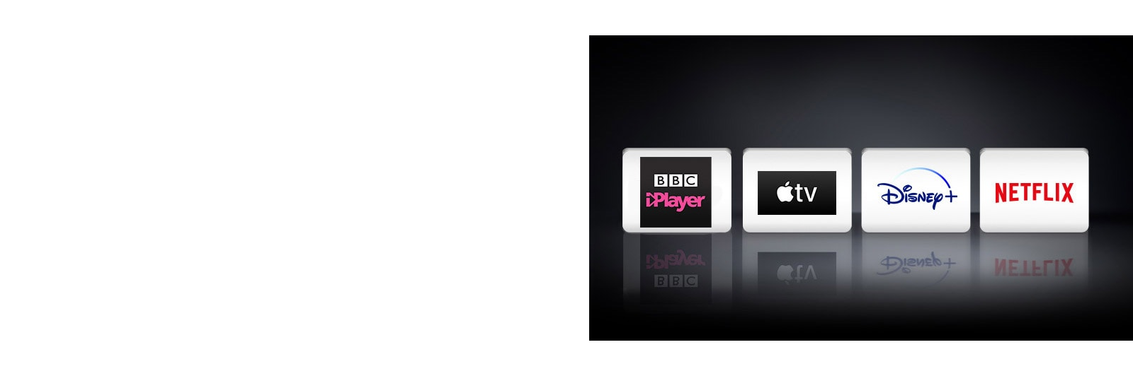 Four logos: The Apple TV app, Disney+, Netflix and BBC iPlayer