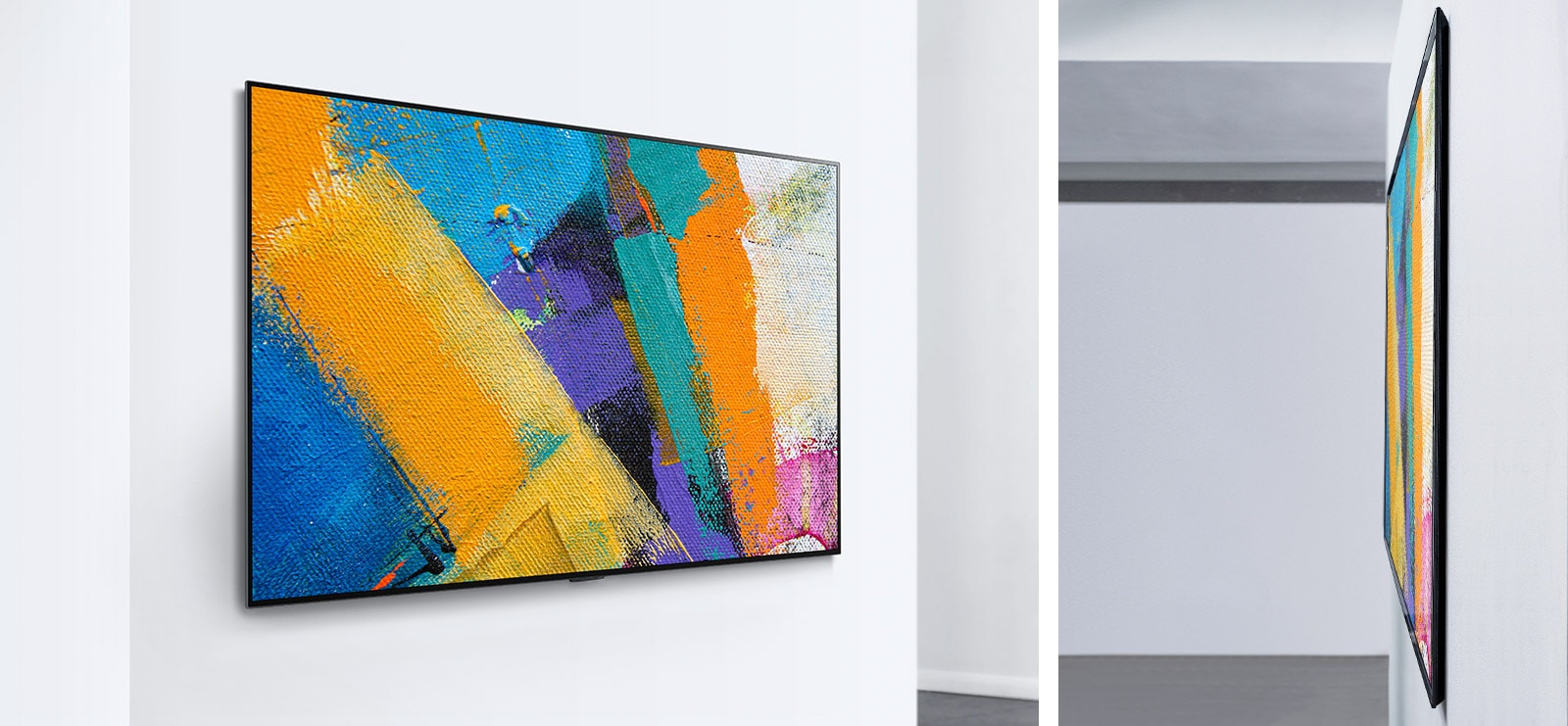 Two LG Gallery Design TVs showing artwork
