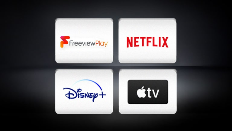 The Freeview Play logo, the Apple TV logo, the Disney+ logo, and the Netflix logo are arranged in the black background.